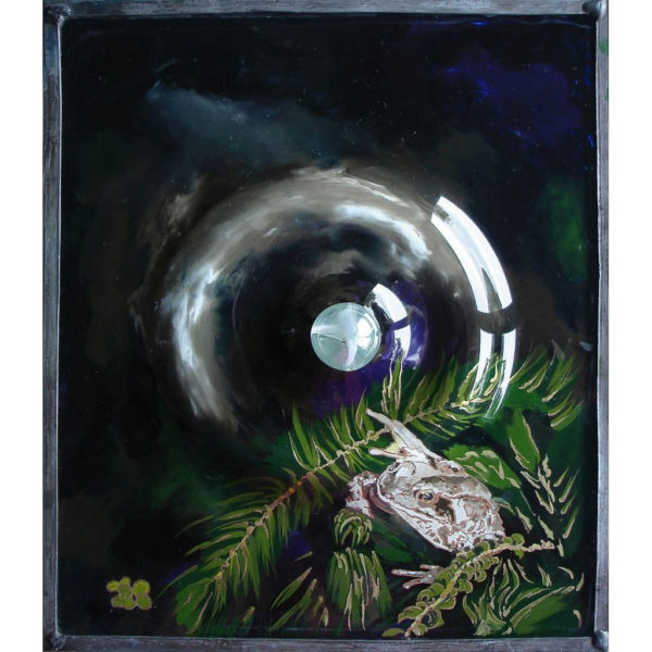 Toad with a Raindrop Oils and silver liquid leaf on underside of antique glass with marble. 22 x 26 cm