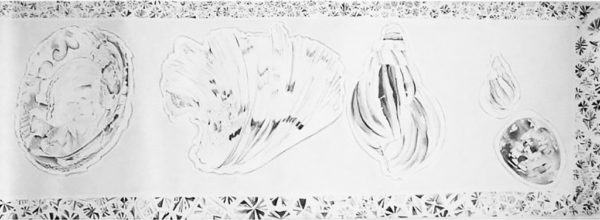 Mementoes: Collection of shells with coral border. Pencil on paper. 2270 x 1500 cm